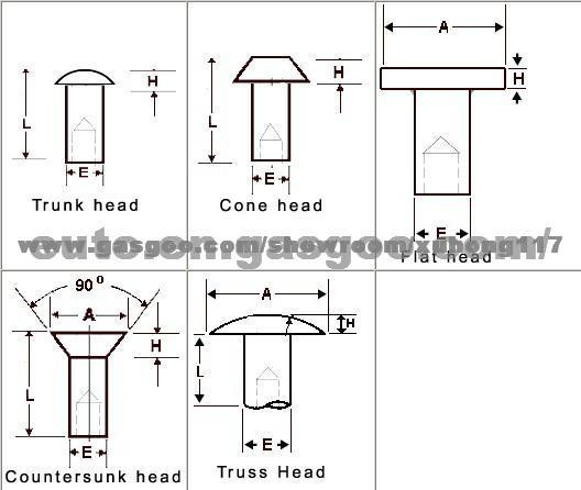 Semi-tubular Rivet with Different Head Style, Application:Car